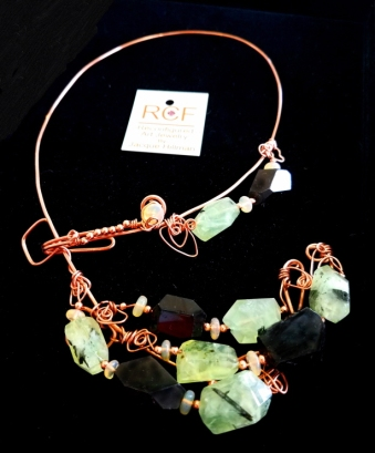 Prehnite-Tourmaline-copper choker-2018